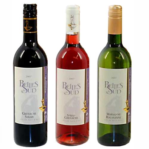 Belles du Sud wijn trio rood, wit en rose