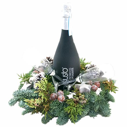 Fles ilmiogusto black met kerstkrans en glazen